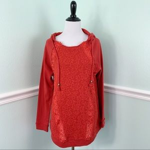 Coral Distressed Hoodie Large Tunic Large